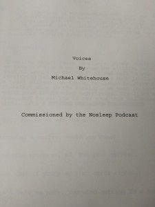 Front page of an amazing script by Michael Whitehouse, not to be confused with Mike Blackcastle.