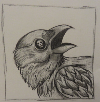 A crow with a skull in its eyes.