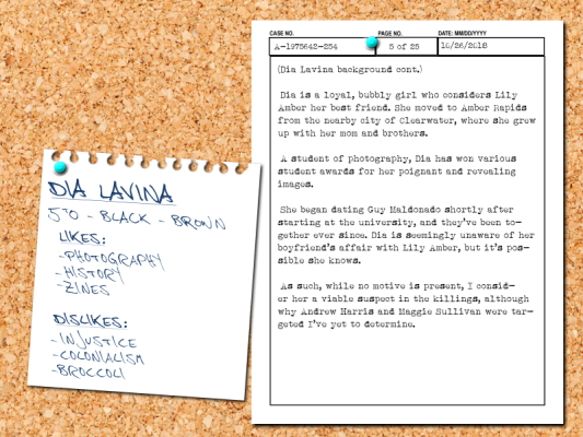 Chambers' notes on Dia Lavina, Lily Amber's best friend.
