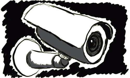 A mounted camera.